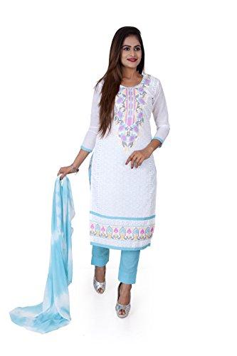 Sainath textiles Malini White & Sky Blue Color Salwar Suits for Women...