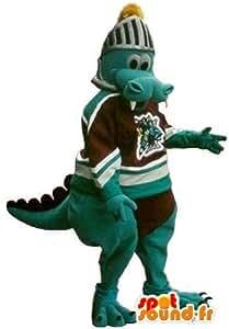 Crocodile footballeur américain portant un casque du moyen âge