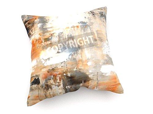 Schlafzimmer-zeitgenössische-sofa (weewado Carollynn TICE - Braun und Beige Kunst-Malerei - 40x40 cm - Sofa-Kissen aus Satin - Kunst, Gemälde, Foto, Bild auf Kissen - Abstrakt)