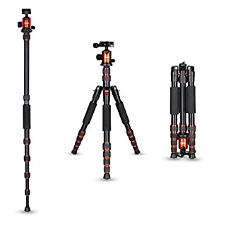 Rollei Aluminium traveler tripod in orange with ball head - compatible with DSLR & DSLM cameras - incl. monopod, Acra Swiss quick release plate & tripod bag