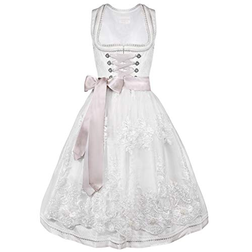 Krüger Collection Damen Trachten-Mode Midi Hochzeitsdirndl Lola in Ecru traditionell, Größe:36, Farbe:Ecru