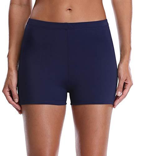 Anwell Damen Schwimmen Wäsche Badeanzug Shorts Bauchkontrolle Bikini Frauen Fitnesshosen, Marine, 36