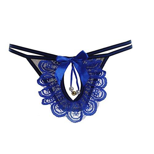 Culater® 1PC Femmes Transparent String en Dentelle sous-vêtements Slips Bells Tentation T pantalons Bleu