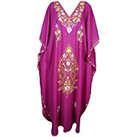 Mogul Interior Womens Boho Kaftan Embroidered Pink Resort Wear Caftan One Size