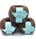 Fil à tricoter en coton DK, 100 % biologique, 50g/m², crochet, tricot à la main, couleurs pastel -Lot de 3boules marron
