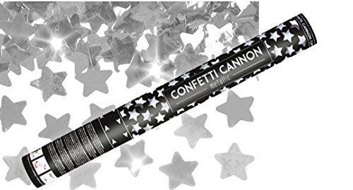 Konfetti Shooter 5 Stück Party Popper silber Sterne Konfetti Kanone XXL 60 cm ! Hochzeit, Feste, Party - von Haus der Herzen ®