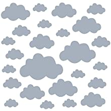 PREMYO Set of 25 Cloud Wall Stickers Kids - Nursery Decor Easy to Apply - Decals for Bedrooms for Girls Boys Grey