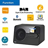 Ocean Digital wifi Internet Radio WR238CD FM Ricevitore Bluetooth DAB/DAB+ Digitale radio sintonizzatore con Aux in UPnP sveglia displayer LCD Telecomando - Negro