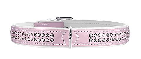 Hunter Modern Art Deluxe Nickel Faux Leather Collar, 24/30 cm, Light Pink/White