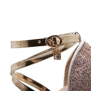 LFNLYX Donna Sandali Estate altri cuoi Glitter Materiale personalizzato Party & abito da sera Casual Chunky HeelCrystal fibbia Split Rainbow