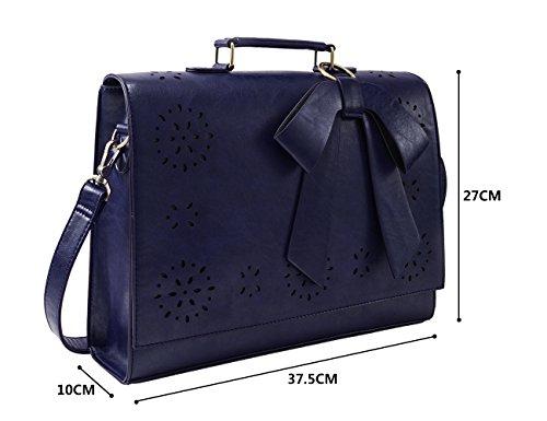 ECOSUSI Borsa a Tracolla Donna Borsa Messenger Vintage per Laptop 14 Pollici Valigetta da Ufficio Blu