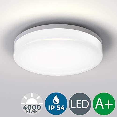 B.K. Licht plafonnier LED intérieur extérieur salle de bain balcon terrasse IP54, 13W, lumière blanche neutre 4000 Kelvin, 1600lm I Ø 220mm