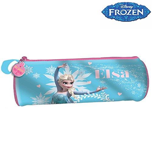 Bakaji astuccio tombolino portapastelli portapenne frozen elsa disney azzurro bambine scuola 2017