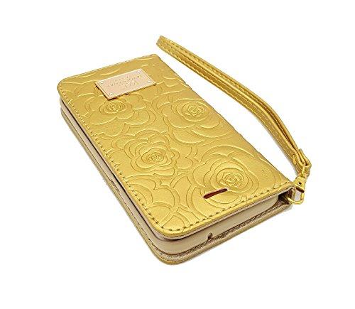 iPhone 7Plus Case, Leder Wallet Case mit Karte Pillendose für iPhone 7Plus 14cm, Camellia Gold