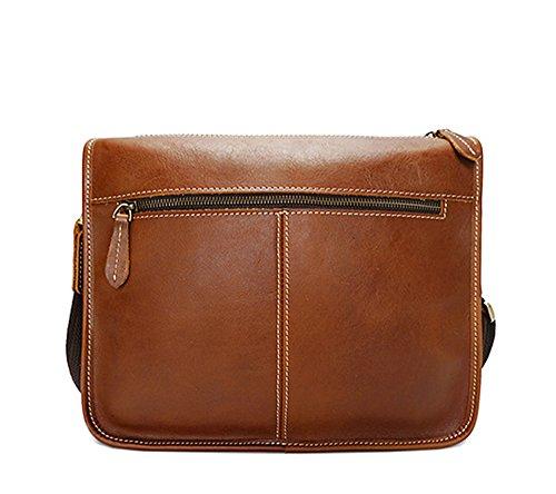 Xinmaoyuan uomini borsette in cuoio borsa a tracolla messenger retrò maschio sacchetto pelle lucida, marrone Brown