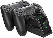 EXTSUD PS4 Controller laadstation, Dual Dualshock 4 lader lader met LED-display en USB-kabel oplader voor Sony Playstation 4