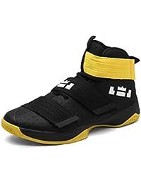 Largeshop Herren Jungen Basketballschuhe Hohe Sneakers Atmungsaktiv Ausbildung Outdoor Freizeit Sport Turnschuhe, Schwarz-1, 45 EU