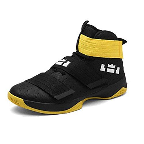 Largeshop Herren Jungen Basketballschuhe Hohe Sneakers Atmungsaktiv Ausbildung Outdoor Freizeit Sport Turnschuhe, Gelb, 38 EU