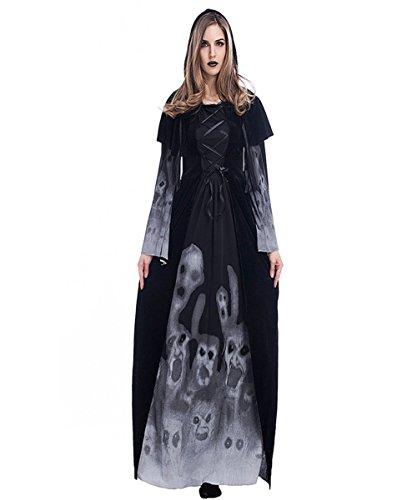 HiMqhy Halloween neue Style Skelett Drucken Hexe Vampir lange Kleidung weiblich Cosplay Königin Leistung Kleid Schwarz, XS
