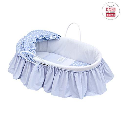 Imagen para Cambrass Star - Capazo de palma con capota y vestidura, color azul celeste