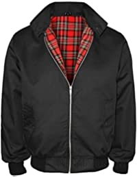Harrington Jacket Adults Unisex Mens Ladies Womens Harrington Classic Retro Scooter 1970'S Bomber MOD Skin Tartan Lining Coat Top Size XS-XXL