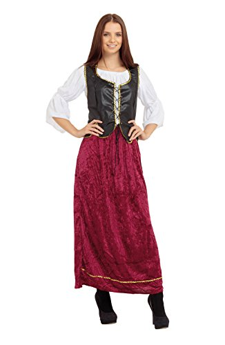 5Tudor-Magd, Kostüm für Damen, Einheitsgröße (Magd Mittelalter Kostüm)
