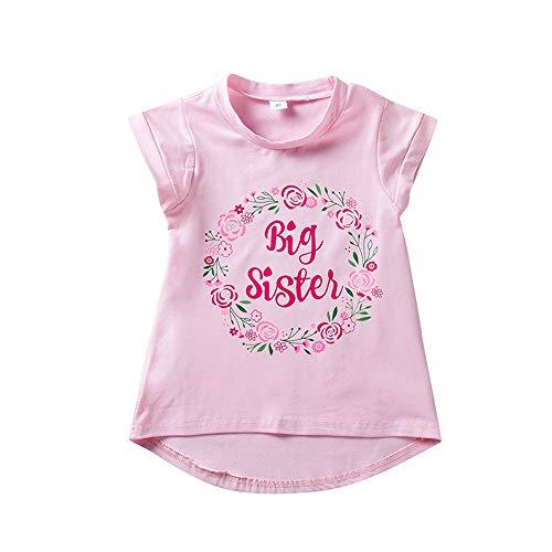 Große Schwester T-Shirt Kleinkind Mädchen Blumen Kurzarm Top Bluse Große Schwester Ankündigung Shirt 1-6J (Für Valentine-t-shirts Kleinkinder)