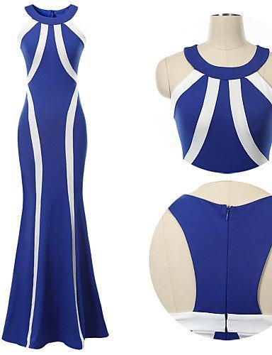 PU&PU Robe Aux femmes Swing Soirée , Rayé / Couleur Pleine Licou Maxi Acrylique / Polyester / Spandex / Mélanges de Coton BLUE-M