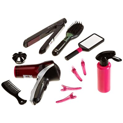 """Theo Klein-5873 Mega Set de peluquería con Cepillo, secador Plancha de Pelo de Braun satín Hair 7"""", Juguete, Multicolor (5873)"""