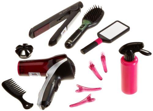 Theo Klein 5873 - Braun Satin Hair 7 Mega Set mit Haartrockner, Bürste, Haarglätter, Handspiegel, Kamm, 4 Haarklammern, Spielzeug