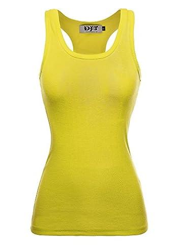 DJT Women Racer Back Ribbed Vest Tank Tops Stretch Plain Cotton Muscle Undershirt Tee T-Shirt Yellow
