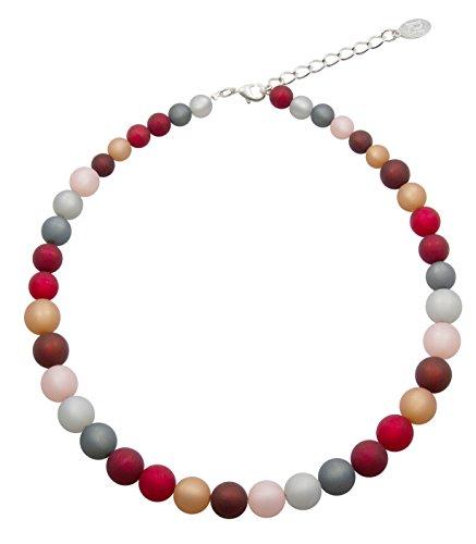 Halskette aus echten Polarisperlen ca. 45 cm + 4.5 cm PKE1218 grau rosa bordeaux