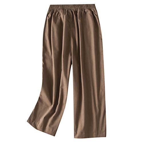 7650210803f0dd VRTUR Damen Sommerhose Cropped Hose Elegant Hosen Lang Weites Bein  Sommerhose Solide Gummibund Freizeithose Braun L