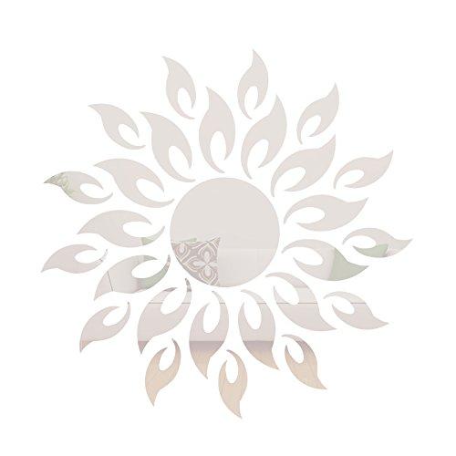 3D de alta calidad sol acrílico etiqueta de la pared de espejo en forma de flor para la decoración del hogar salón plata
