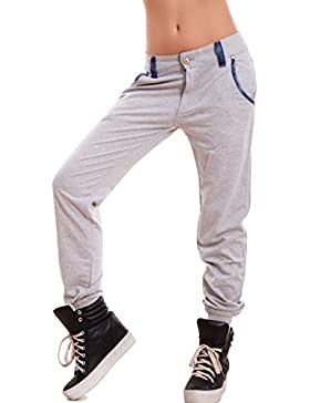 Toocool - Pantaloni donna tuta cavallo basso harem polsini dettagli jeans sexy nuovi K5802