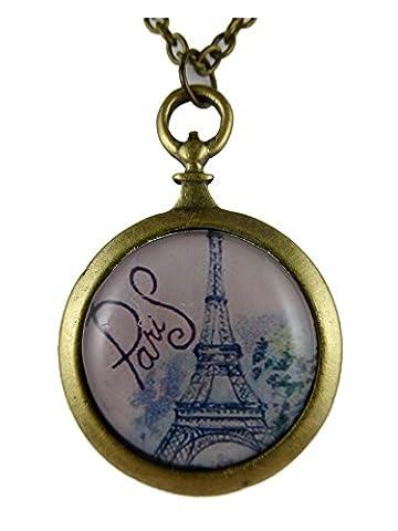 Kette Halskette messingfarben Vintage Taschenuhr Silhouette Paris Eiffelturm Frankreich Liebe 856