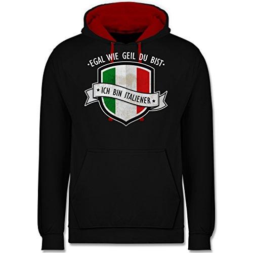 Länder - Egal wie geil du bist - ich bin Italiener - Kontrast Hoodie Schwarz/Rot