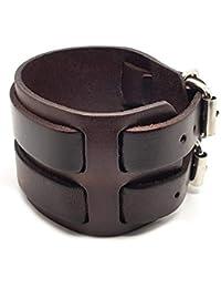 e1515f4c79d9 BOBIJOO Jewelry - Bracelet De Force Homme Cuir Marron Noir Acier Métal  Double Rang Ceinture Vintage