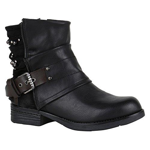 Gefütterte Damen Biker Boots Glitzer Stiefeletten Nieten Schuhe 150218 Schwarz Nieten 37 Flandell