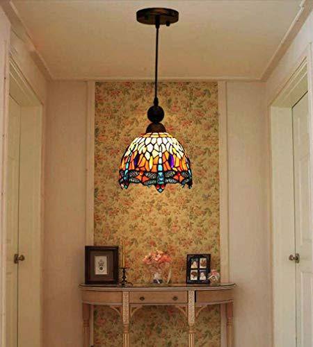 Lámpara colgante estilo Tiffany, libélula, 8 pulgadas, vidriera victoriana, lámpara colgante con sombra para accesorios de arte clásico en el restaurante Kitchen Island, 110-240V / E27