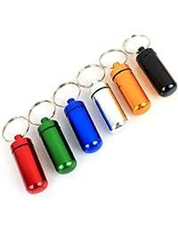 Estone pilulier étanche Aluminium 6 boîtes Cache des porte-conteneurs de porte-clés colorés