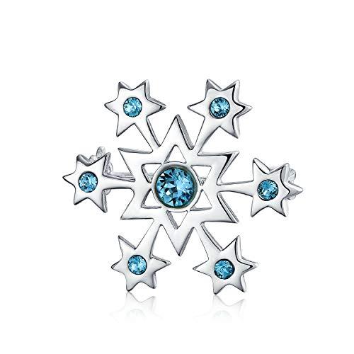 Bling Jewelry Winter Aqua Blau Urlaub CZ Zirkonia Schneeflocke Broschen & Anstecknadeln Weihnachten Pin Für Damen 925 Sterling Silber