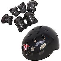 1SET (pezzi) S/M pattini regolabili salvaguardia ginocchiere, gomitiere Wrister Bracers casco di sicurezza durevole protezione Pads sport supporto imbottito per bambini/bambini roller skate skateboard bicicletta BMX bici (nero)