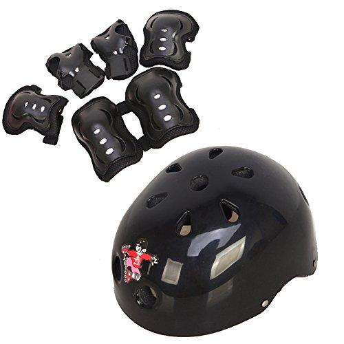 1Set (7PCS) S / M Roller Skating Verstellbare Klettverschluss Schutz Knie Pads Ellenbogen Pads Wrister Armschienen Sicherheitshelm Durable Schutzhüllen Sport Support Pads für Kinder / Kinder Roller Skate Skateboard Fahrrad BMX Bike (Schwarz) (M 7-12 Jahre)