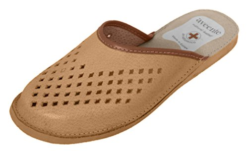 Angenehm Elegant Leder Herren-Hausschuhe/Pantoffeln mit anatomischem Fußbett Beige (Rubber Sole)