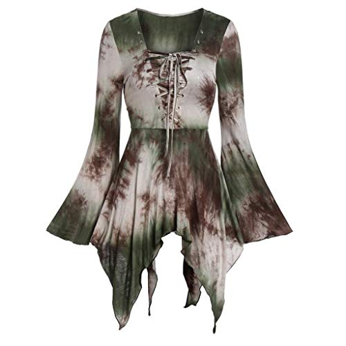 Lazzboy Frauen-Halloween-Aufflackernhülse Bindungsfärben schnüren Sich Oben gotische asymmetrische T-Shirt Oberseiten(Grün-a,L) (Snack Maschine Kostüm)
