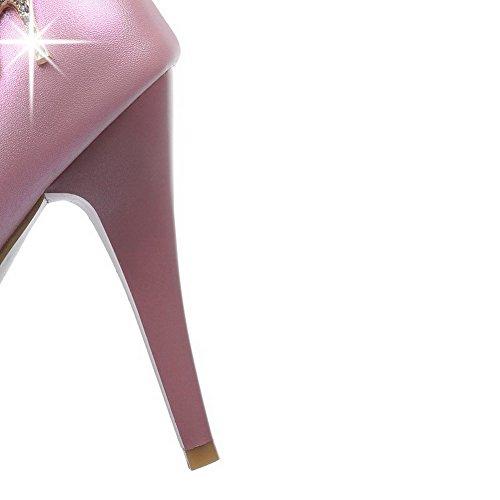 VogueZone009 Damen Rein Pu Leder Hoher Absatz Rund Schließen Zehe Ziehen Auf Pumps Schuhe Pink
