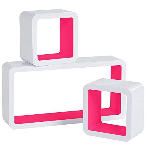 WOLTU RG9229pk Wandregal Cube Regal 3er Set Bücherregal Regalsysteme, Retro Hängeregal Würfel, weiß-pink