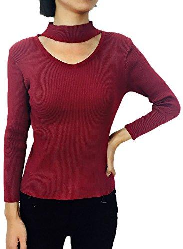 futurino da donna con sagoma a coste Knit maglione casual