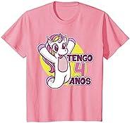 Niños Cumpleaños Unicornio Niña de 4 años Niño tengo cuatro años Camiseta
